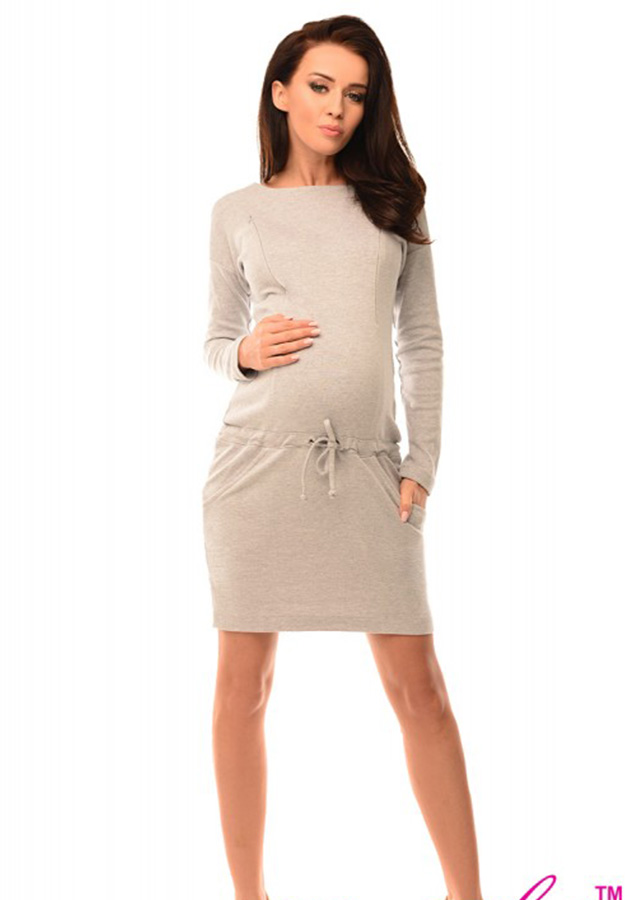 pregnancy-and-nursing-front-tie-dress-with-pockets-6204-light-gray-melange